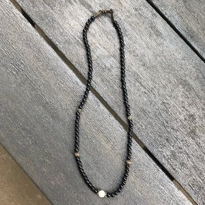 Vintage black bead and pearl necklace